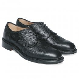 Bexhill Wingcap Derby Brogue in Black Grain Leather