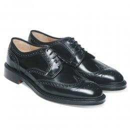 Bexhill Wingcap Derby Brogue in Black Hi-Shine Leather