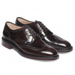 Bexhill Wingcap Derby Brogue in Maronite Polished Leather