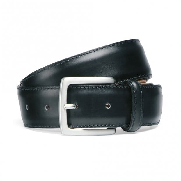 Cheaney Black Calf Stitched Belt with Silver Buckle