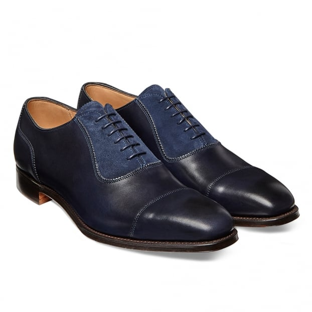 Cheaney Brackley Oxford in Burnished Navy Calf/ Navy Suede