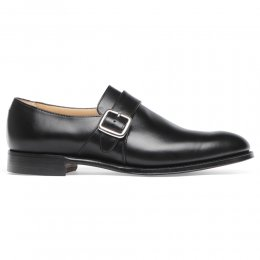 Braybrooke Single Buckle Monk Shoe in Black Calf Leather
