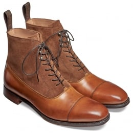Brixworth Balmoral Boot in Burnished Chestnut Calf/ Fox Suede