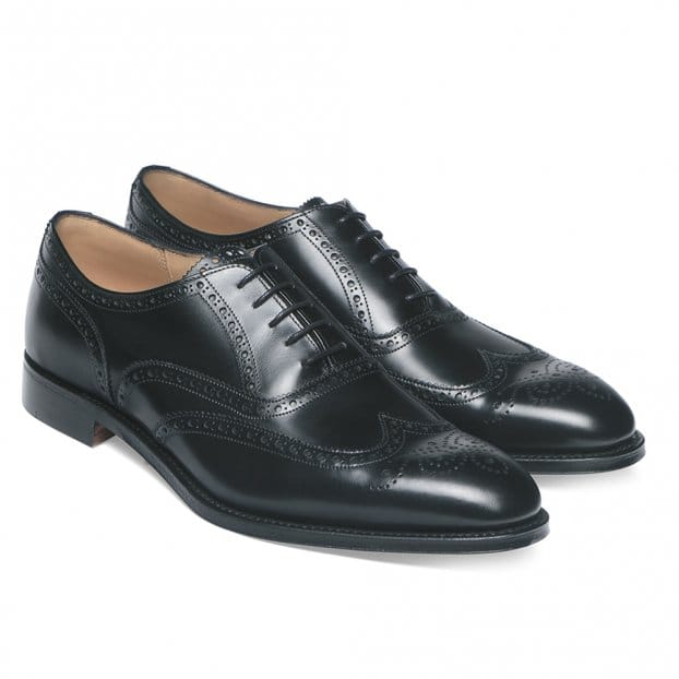 Cheaney Broad II Oxford Wingcap Brogue in Black Calf Leather | Leather Sole | G Fit