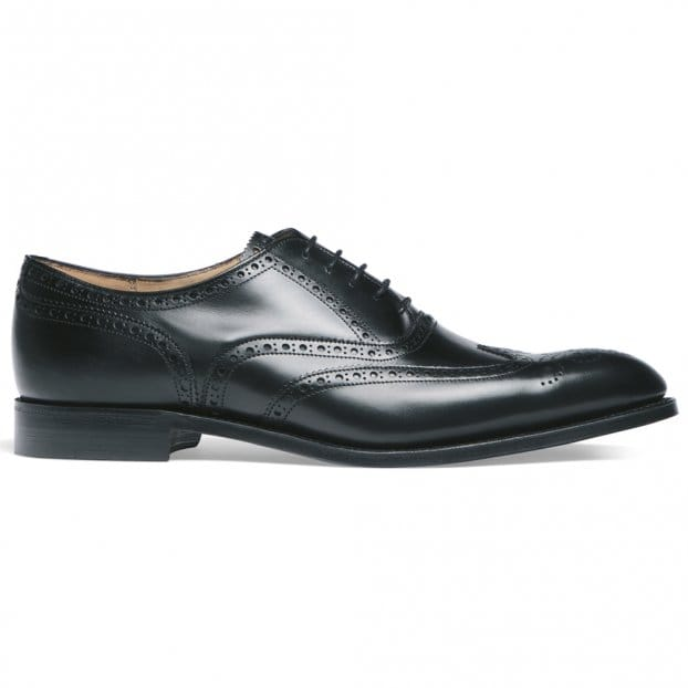 Cheaney Broad II Oxford Wingcap Brogue in Black Calf Leather | Leather Sole