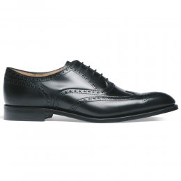 Broad II Oxford Wingcap Brogue in Black Calf Leather | Leather Sole