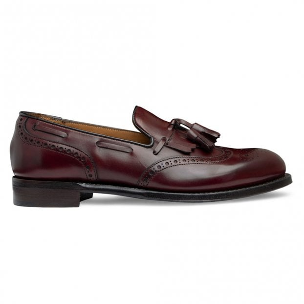 Cheaney Brooke Fringed Tassel Loafer in Burgundy Calf Leather