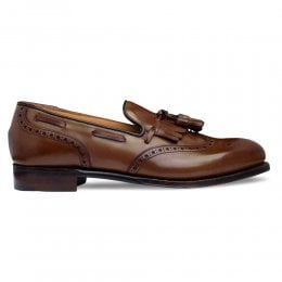 Brooke Fringed Tassel Loafer in Conker Calf Leather