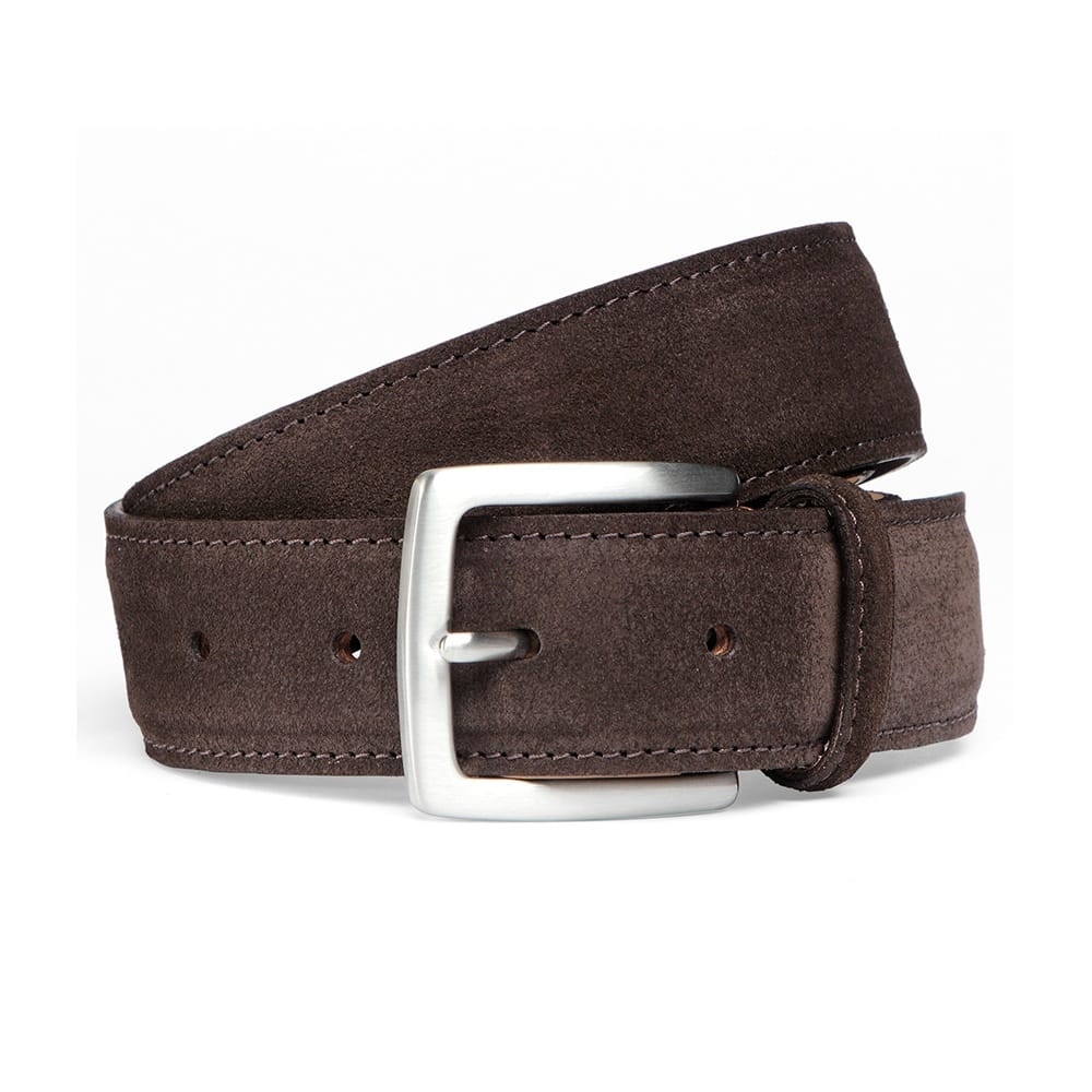 cheaney brown suede belt with silver buckle made in