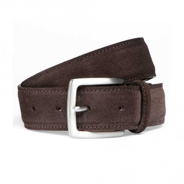 Cheaney Brown Suede Belt with Silver Buckle