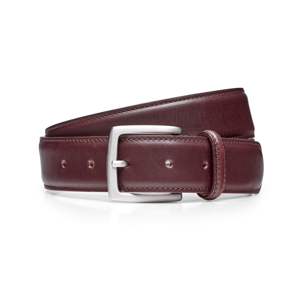 f3f73c5bf143f Cheaney Burgundy Calf Belt with Silver Buckle | Made In England