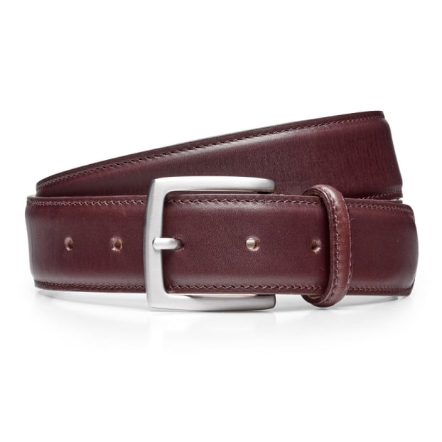 Cheaney Burgundy Calf Belt with Silver Buckle