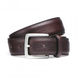 Burgundy Grain Belt with Silver Buckle