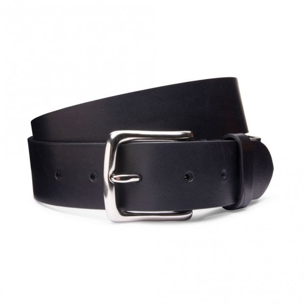 Cheaney Casual Black Belt with Silver Buckle