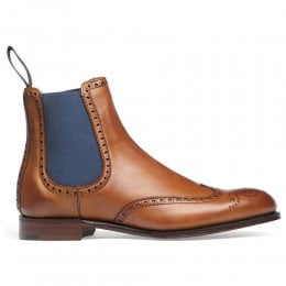 Charlotte Ladies Wingcap Brogue Chelsea Boot in Chestnut Calf Leather