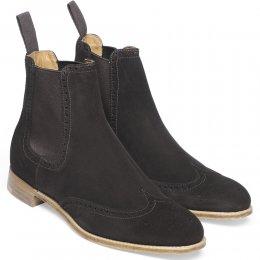 Charlotte Ladies Wingcap Brogue Chelsea Boot in Dark Brown Suede