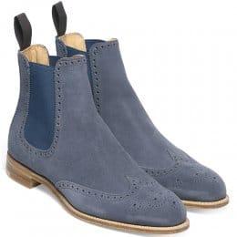 Charlotte Ladies Wingcap Brogue Chelsea Boot in Denim Blue Suede