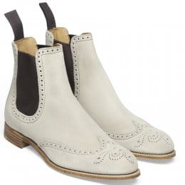 Charlotte Ladies Wingcap Brogue Chelsea Boot in Lavanda Beige Suede