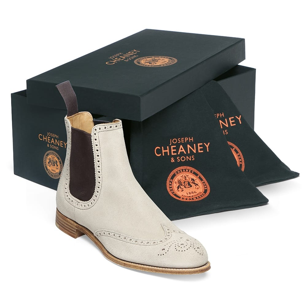 cheaney charlotte ladies beige suede chelsea boot made. Black Bedroom Furniture Sets. Home Design Ideas