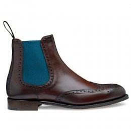 Charlotte Wingcap Brogue Chelsea Boot in Burgundy Calf Leather