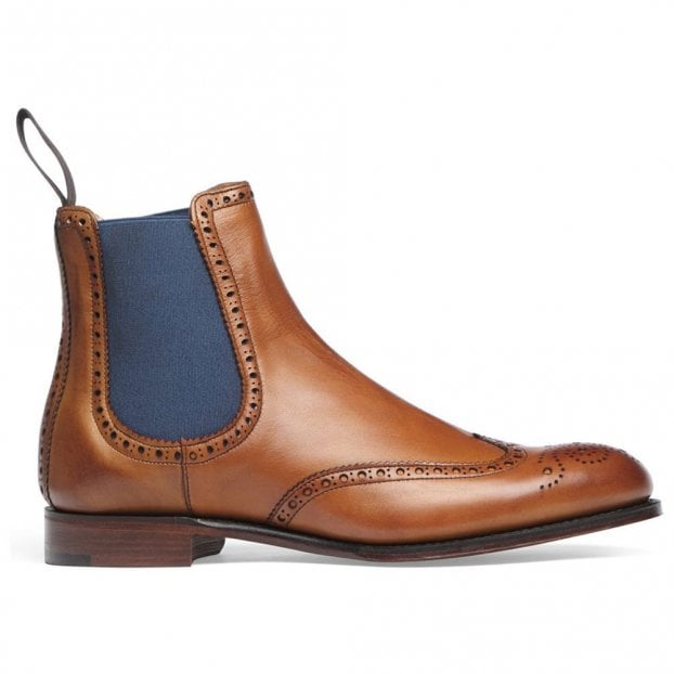 Cheaney Charlotte Wingcap Brogue Chelsea Boot in Chestnut Calf Leather
