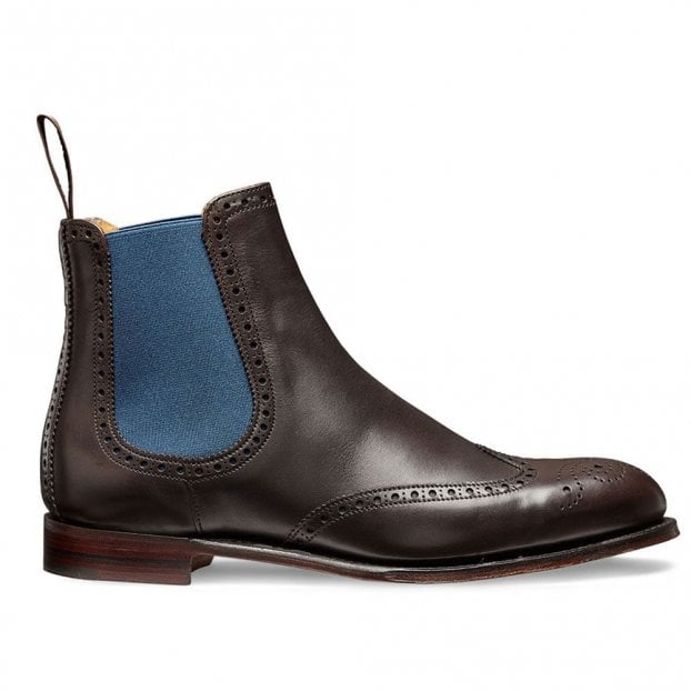Cheaney Charlotte Wingcap Brogue Chelsea Boot in Mocha Calf Leather