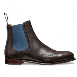Charlotte Wingcap Brogue Chelsea Boot in Mocha Calf Leather