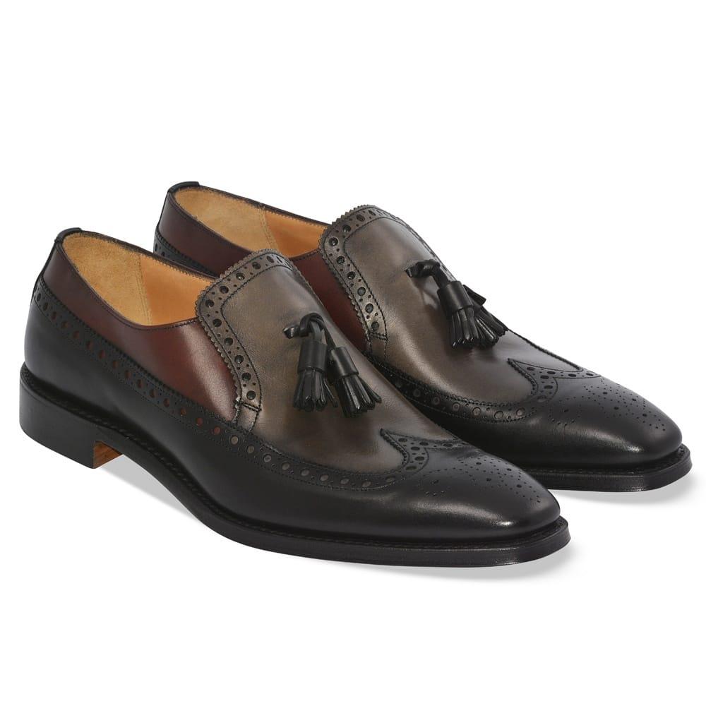 mens brogue slip on shoes