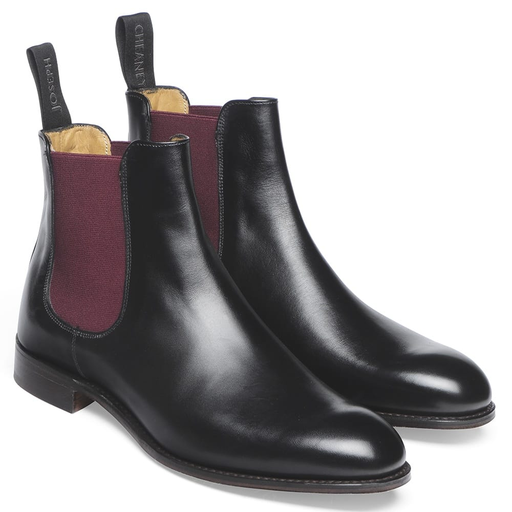 03fe8c5331f Cheaney Clara Chelsea Boot in Black Calf Leather