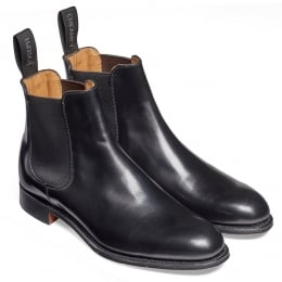 Clara Ladies Chelsea Boot in Black Hi Shine Calf Leather