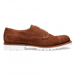 Clough Capped Derby Shoe in Fox Suede