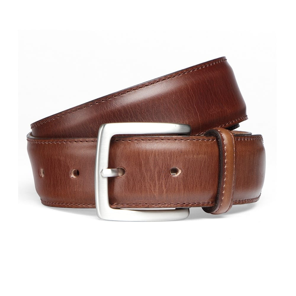 cheaney conker brown belt with silver buckle made in