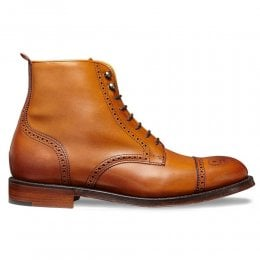Connie Ladies Semi Brogue Boot in Burnished Chestnut Leather