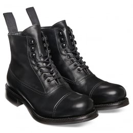 Constance R Ladies Military Style Ankle Boot in Black Calf Leather