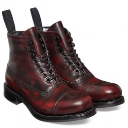 Constance R Ladies Military Style Ankle Boot in Black Cherry Goat Skin