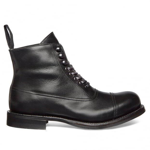 Cheaney Constance R Military Style Ankle Boot in Black Calf Leather