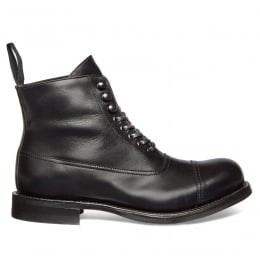 Constance R Military Style Ankle Boot in Black Calf Leather