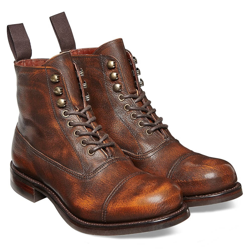 Cheaney Constance R Military Style Ankle Boot in Copper Goat Skin