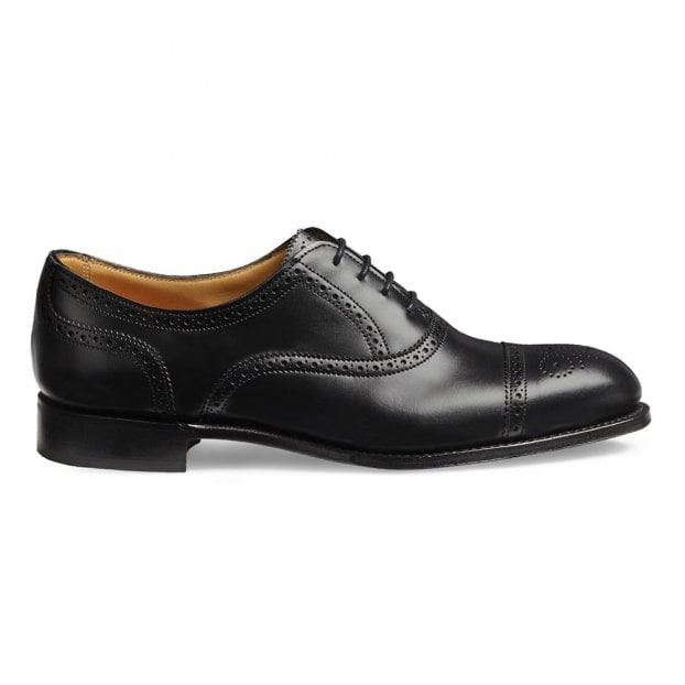 Cheaney Darcey D Semi Brogue in Black Calf Leather