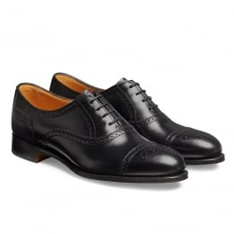 Darcey Ladies Semi Brogue in Black Calf Leather