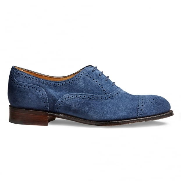 Cheaney Darcey Ladies Semi Brogue in Bluetta Suede Leather