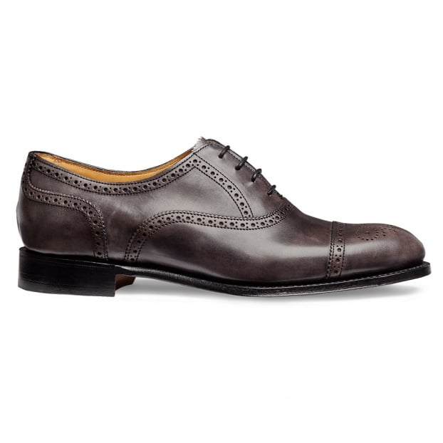 Cheaney Darcey Ladies Semi Brogue in Charcoal Calf Leather