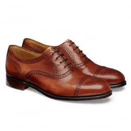 Darcey Ladies Semi Brogue in Dark Leaf Calf Leather