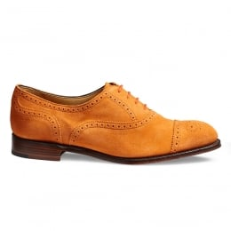 Darcey Ladies Semi Brogue in Orange Suede Leather