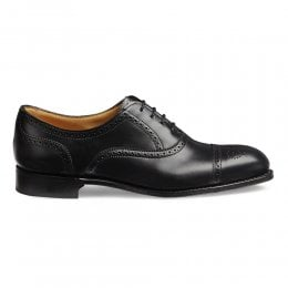 Darcey Semi Brogue in Black Calf Leather