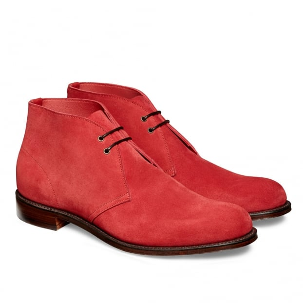 Cheaney Dexter Desert Boot in Melograno Red Castoro Suede