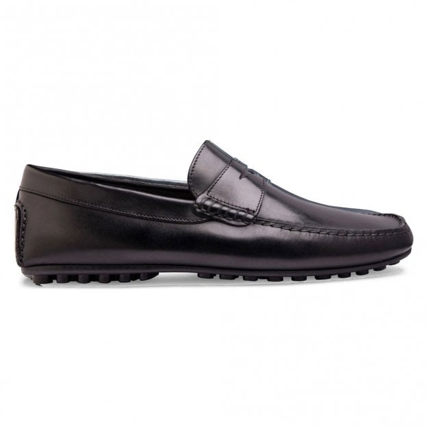 Cheaney Donnington Driving Moccasin Shoe in Black Calf Leather