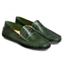 Donnington Driving Moccasin Shoe in Bottle Green Calf Leather