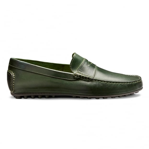 Cheaney Donnington Driving Moccasin Shoe in Bottle Green Calf Leather