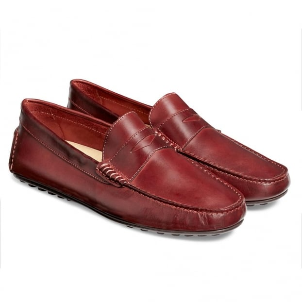 Cheaney Donnington Driving Moccasin Shoe in Burgundy Calf Leather